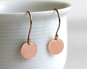 Rose Gold Disc Earrings, Dot Earrings, Minimalist Everyday Jewelry