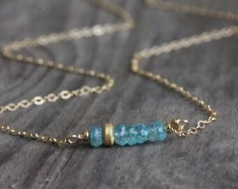 Apatite Bar Necklace Gold Filled, Carribean Blue Gemstone, Minimalist Jewelry
