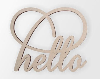 """Wall Decor Word Cutout """"hello"""" - Cutout, Home Decor, Unfinished and Available from 1 to 42 Inches Tall"""