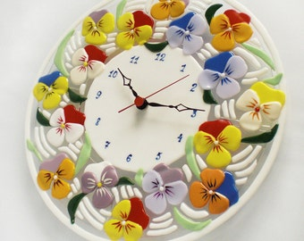 Fused glass wall clock PANSIES