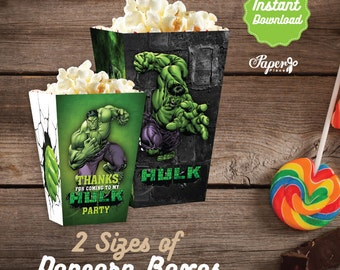 Hulk Popcorn Box, Printable Hulk Popcorn Boxes, Hulk Birthday decoration, instant download, DIY, Hulk Party
