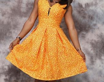 African print circle dress, knee length, african clothing, summer dress, the african shop, african wedding dress, dinner dress, african