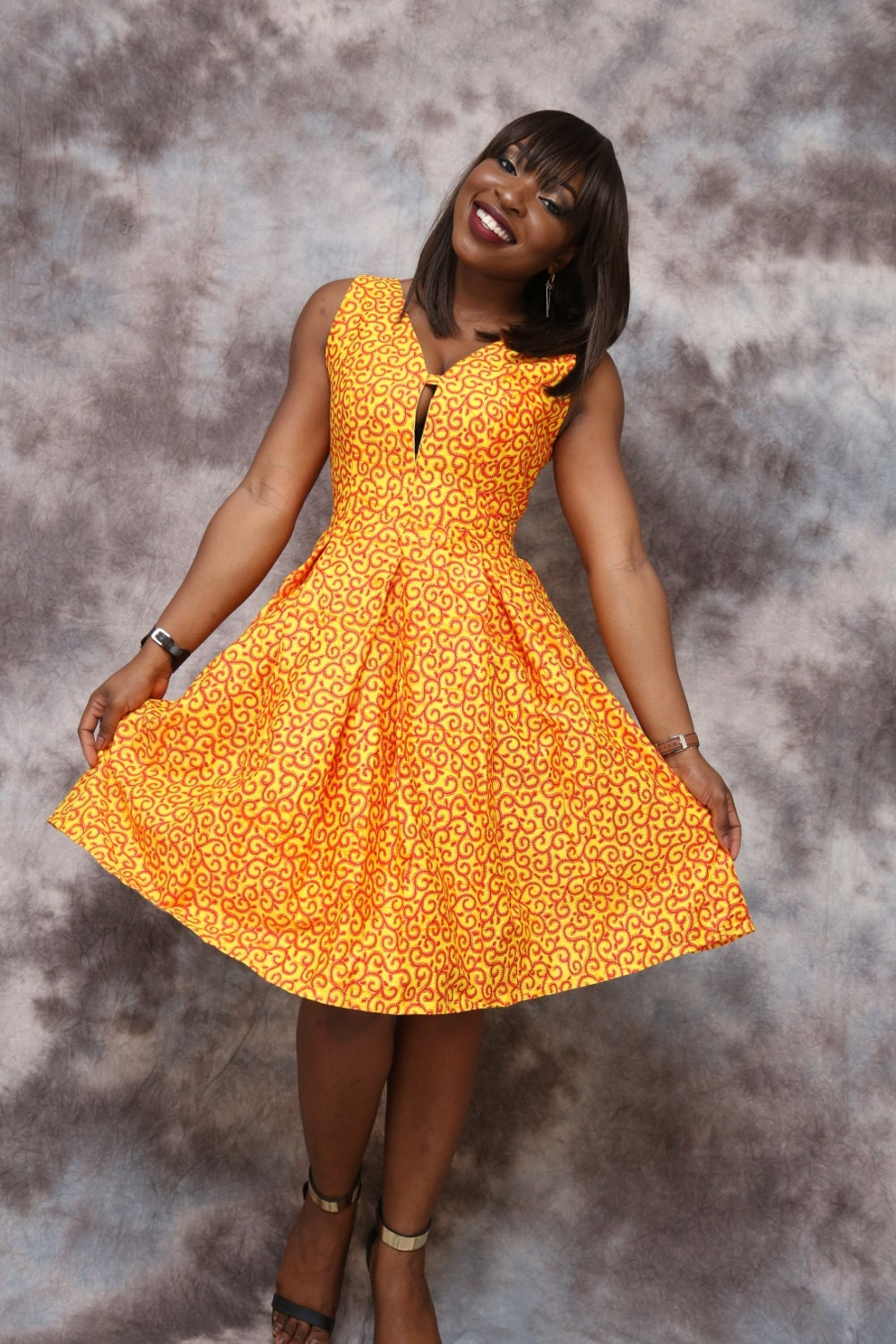 African print circle dress knee length african clothing