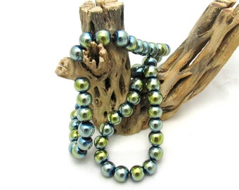1 Strand Non-Magnetic Color Plated Hematite Beads  - Pale Green (B19j2/75d)