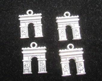 4 Antique Silver Arc de Triomphe Charm Pendants 18 x 14mm (B30d1)