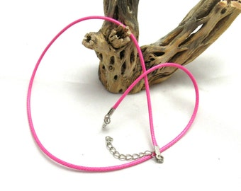 "2 Wax Cord Necklaces 18"" Hot Pink (B91b5/209k)"