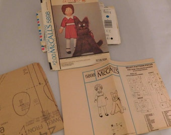 1970s McCalls 5898 38 Inch Little Orphan Annie Doll Pattern & Doll Dress and 24 Inch Sandy Dog Pattern Vintage Toy Sewing Pattern UNCUT