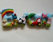 Personalised Baby Children Kids Felt Name Banner Farm Animal Rainbow Theme Gift Hanging Garland