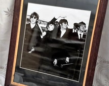 The Beatles, Framed Photograph, Beatles Memorabilia, Vintage framed picture from the 1960s. vintage black and white photo.
