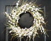 Forysthia  White wreath,  Spring wreath ,  berry wreath ,Forysthia wreath, white berry wreath ,summer wreath
