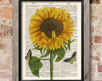 Flower print, Sunflower, Dictionary art print, Botanical print, Flowers Art, Sunflower Illustration, Wall Decor, Sunflower Gift [ART 161]