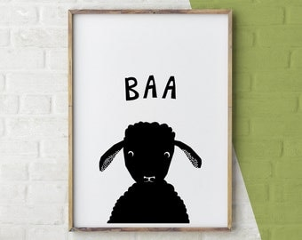 Sheep Print, Farm Animal Wall Art, Lamb Print, Baby Animal Prints, Printable baby animals, Wall Art Nursery, Black and White Printable Art