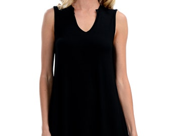 Black Low V-Neck Tank Top