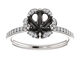 0.90 ctw Prong Setting 14K White Gold Floral Inspired Semi Mount Engagement Ring