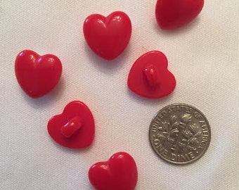 6 pcs Red Heart Buttons