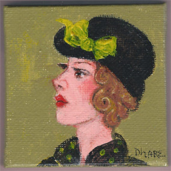 Amellia - Ladies with Hats Series #009 (with display easel) an original painting by Dianne Masters Hare