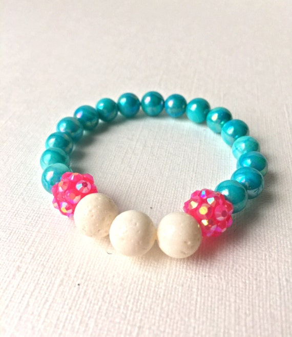 Child Essential Oil Diffuser Bracelet - gift for daughter - gift for girl - white coral, aqua, and hot pink beaded stretch bracelet