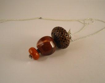 pendant necklace, semiprecious stones necklace, long necklace, chain necklace