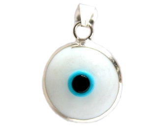 3 pcs 925k Sterling Silver White Evil Eye Pendant | Evil Eye Jewelry, Evil Eye Charm,Silver Evil Eye,Turkish Evil Eye,Greek Evil Eye Pendant