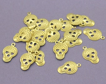 50 Raw Brass Skull Charms (17x10 mm)   Gold Skull Charms, Gold Skull Pendant, Raw Brass Skull Pendant, Brass Skull