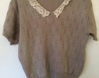 Lace Peter Pan Collar Sweater Top