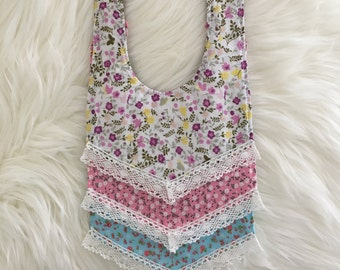 Baby Bib- Collar Style with Lace Trim