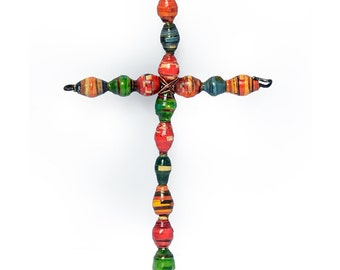Medium Multicolored Paper Bead Cross
