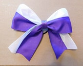 Purple and White Bow with Logo and Number