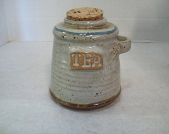 Stoneware, Pottery Tea Jar With Cork and Spoon Holder, P115