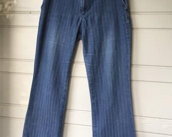 Vintage wide leg striped jeans