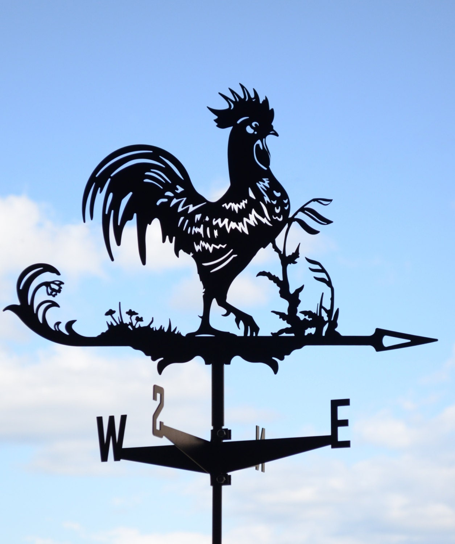 Rooster Chicken Metal Weathervane Roof Mount Wind Decor