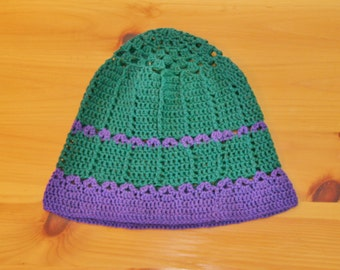 forest green and violet hat