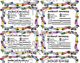 School money note with Crayon Border