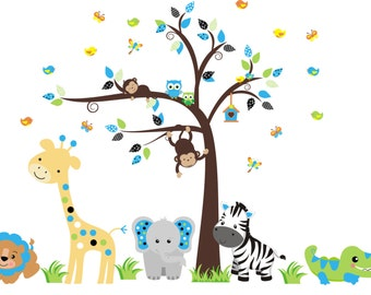 """Kids Room Animal Stickers - Safari Jungle Decals - Elephant Wall Decal - Nurery Room Decals - Nature Wall Decals - High Quality - 84"""" x 120"""""""