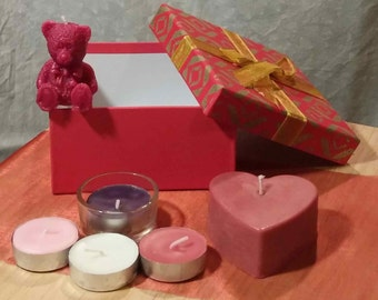 Valentine's Day Tealights and heart shaped Candle