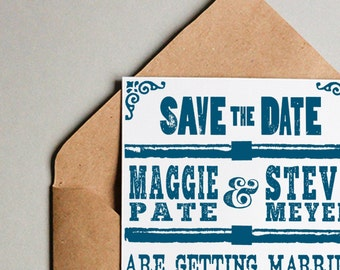 vintage letterpress save the date |  custom save the date  |  letterpress save the date | letterpress invitation | rustic save the date card