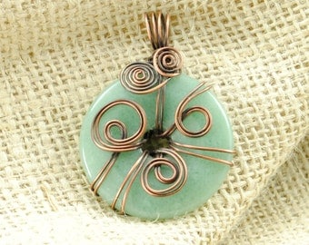 Antiqued Copper Wire-Wrapped Aventurine Donut Pendant - 40mm