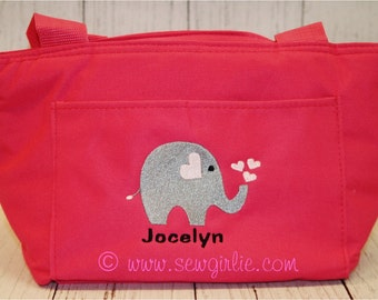 Monogrammed Elephant Lunch Tote