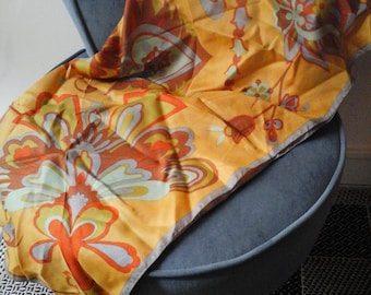 Scarf vintage yellow ochre floral print