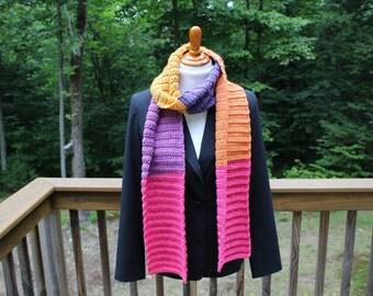 Long Crochet Scarf, Crochet Ribbed Scarf, Multicolor Scarf, Winter Fashion, Teen Scarf, Women Scarf, Wide Scarf