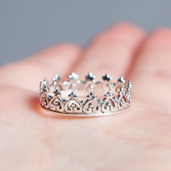crown ring 925 sterling silver boho ring princess ring