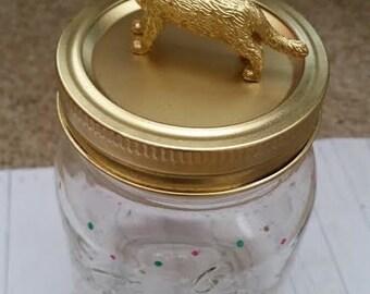 Gold Polka Dot Kitty Mason Jar