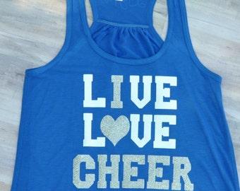 Cheer Shirt, I Love Cheer Shirt, Cheer Tank, Cheer Racerback, Cheer Personalized, Cheer Custom, Cheer Blue Shirt, Cheer Blue Tank