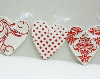 Clay Heart Gift Tags, Red Heart Gift Tags, Handmade Gift Tags, Package Tags, Gift Tags, Gift Wrapping, Clay Heart Tags, Clay Heart Favors