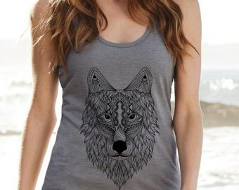 Tank top Wolf mandala color gray Heather
