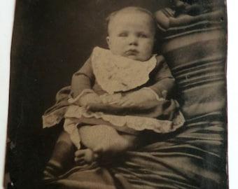 Quirky Odd Tintype Photo Baby Hidden Mother Under Blanket