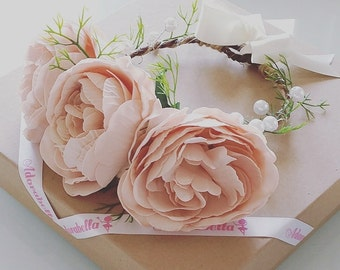 Large Peony Flower Crown