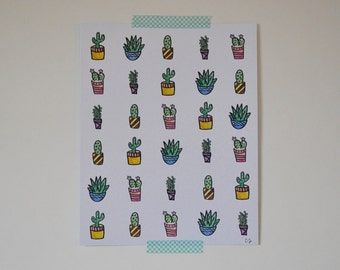 Cacti and Succulents Pattern  // Watercolor Print