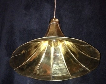 Phonograph Horn Pendent Light