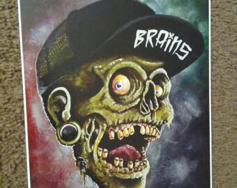 Brains Zombie Origina Art Print